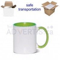 11oz. Sublimation Light Green Inner and Handle Ceramic Coffee Mug With Individual Gift Box (36 pack)