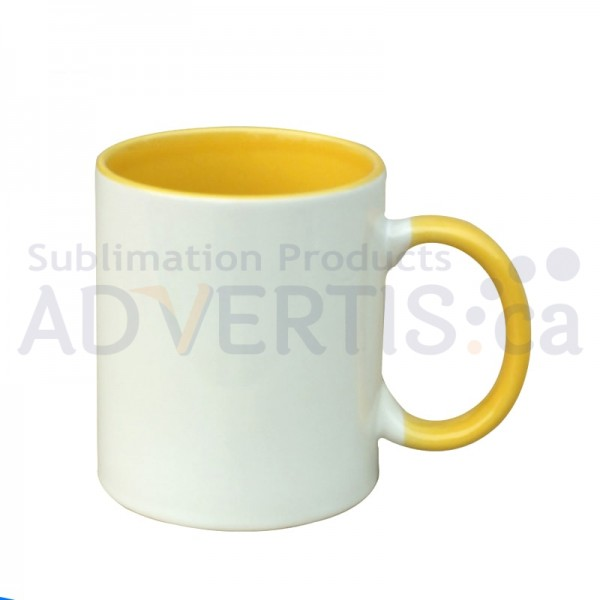 11oz. Sublimation Yellow Inner and Handle Ceramic Coffee Mug With Individual Gift Box (36 pack)