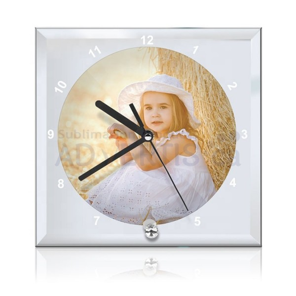 Sublimation Clock Glass Frame with Mirror Edge, 20x20 cm.